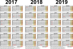 Template 2: Word template for three year calendar 2017-2019 (landscape orientation, 1 page, A4)