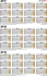 Template 4: Word template for three year calendar 2017-2019 (portrait orientation, 1 page, A4)
