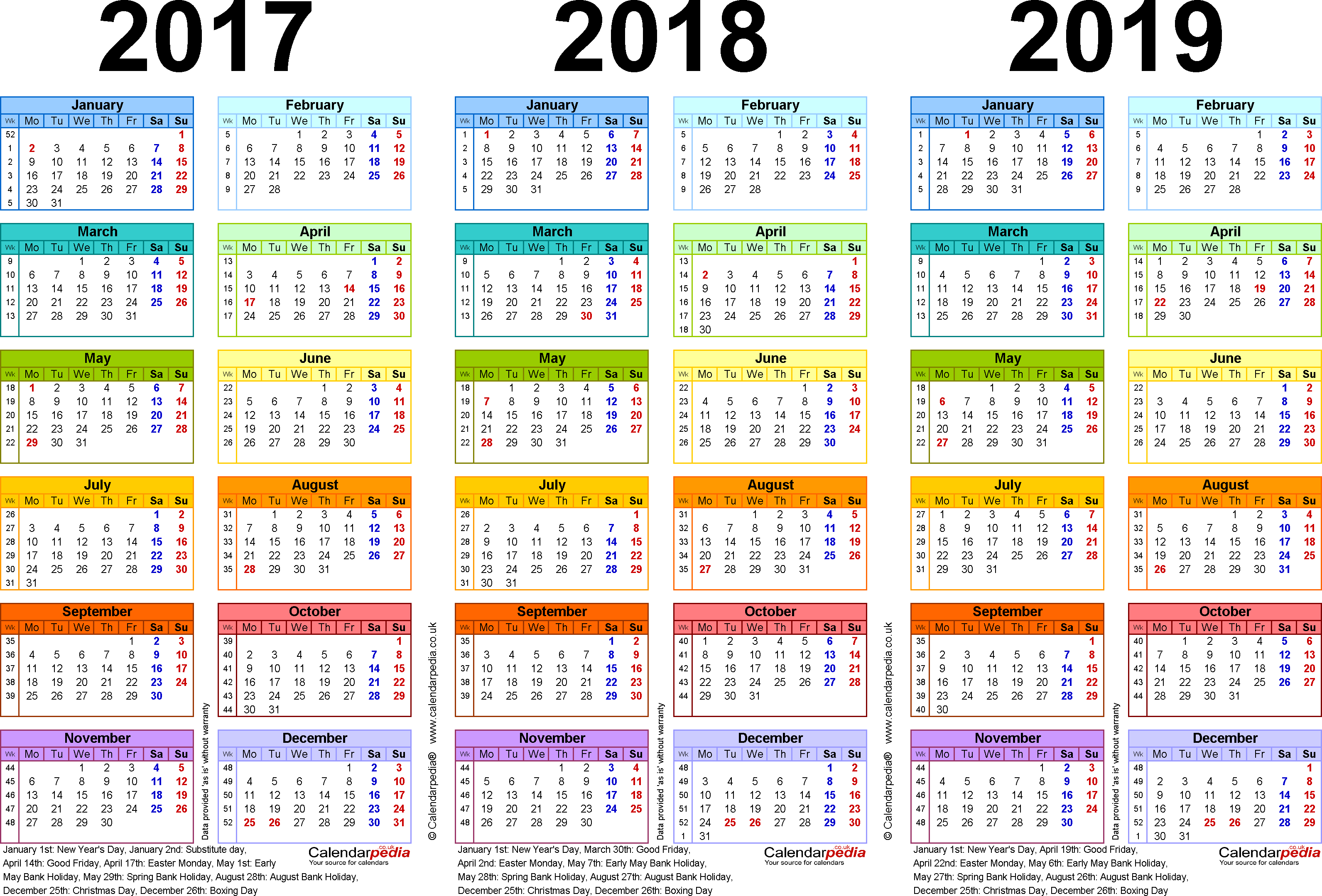 Template 1: Word template for three year calendar 2017-2019 in colour (landscape orientation, 1 page, A4)