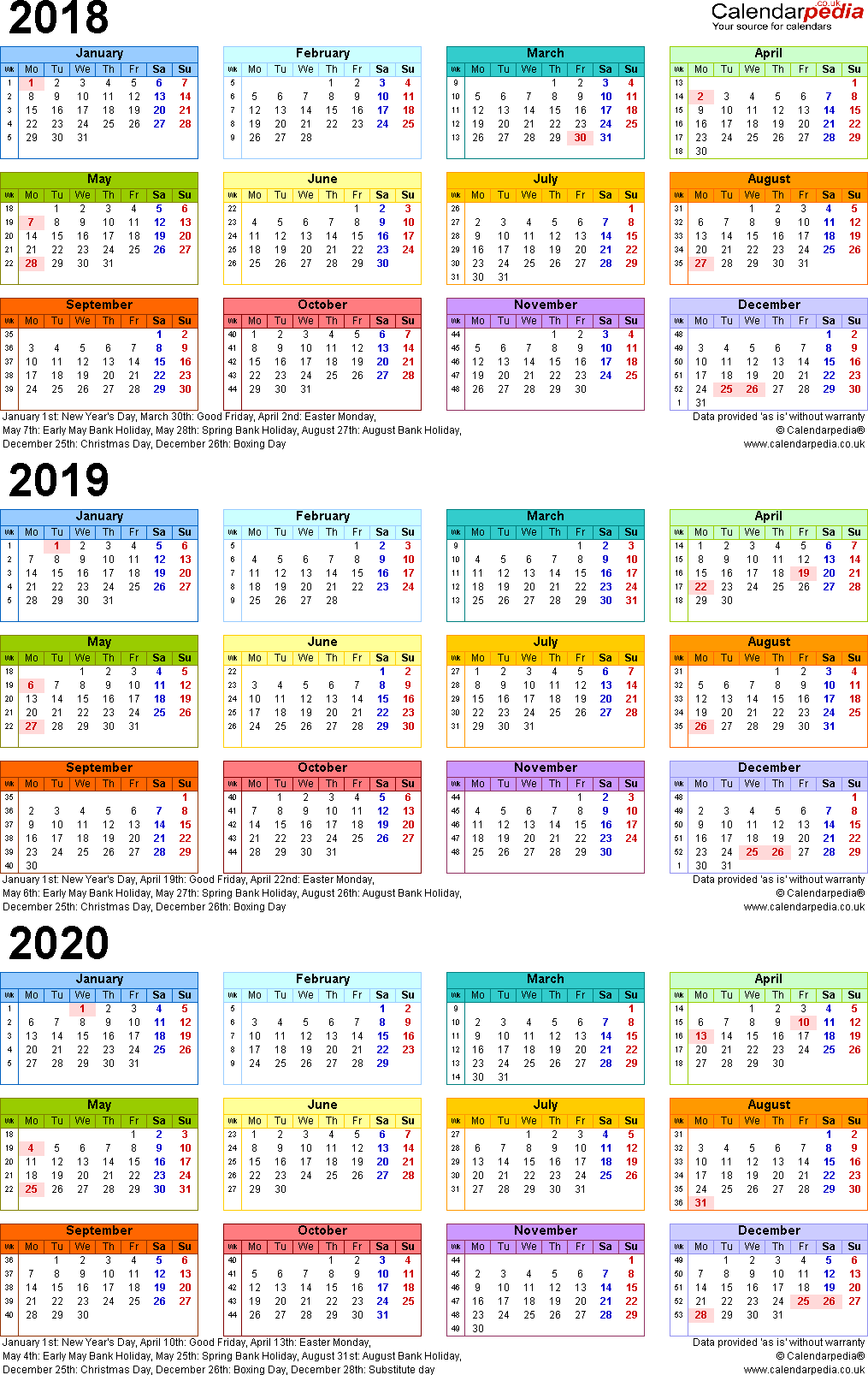 Template 3: Excel template for three year calendar 2018/2019/2020 in colour (portrait orientation, 1 page, A4)