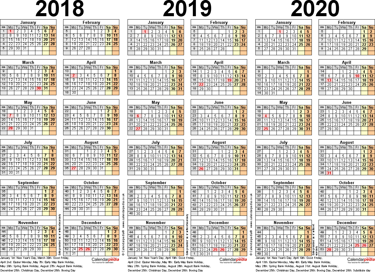 Template 2: Excel template for three year calendar 2018/2019/2020 (landscape orientation, 1 page, A4)