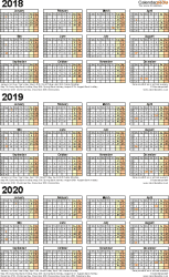Template 4: Excel template for three year calendar 2018/2019/2020 (portrait orientation, 1 page, A4)