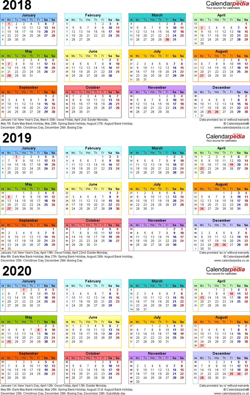 Template 3: Excel template for three year calendar 2018-2020 in colour (portrait orientation, 1 page, A4)