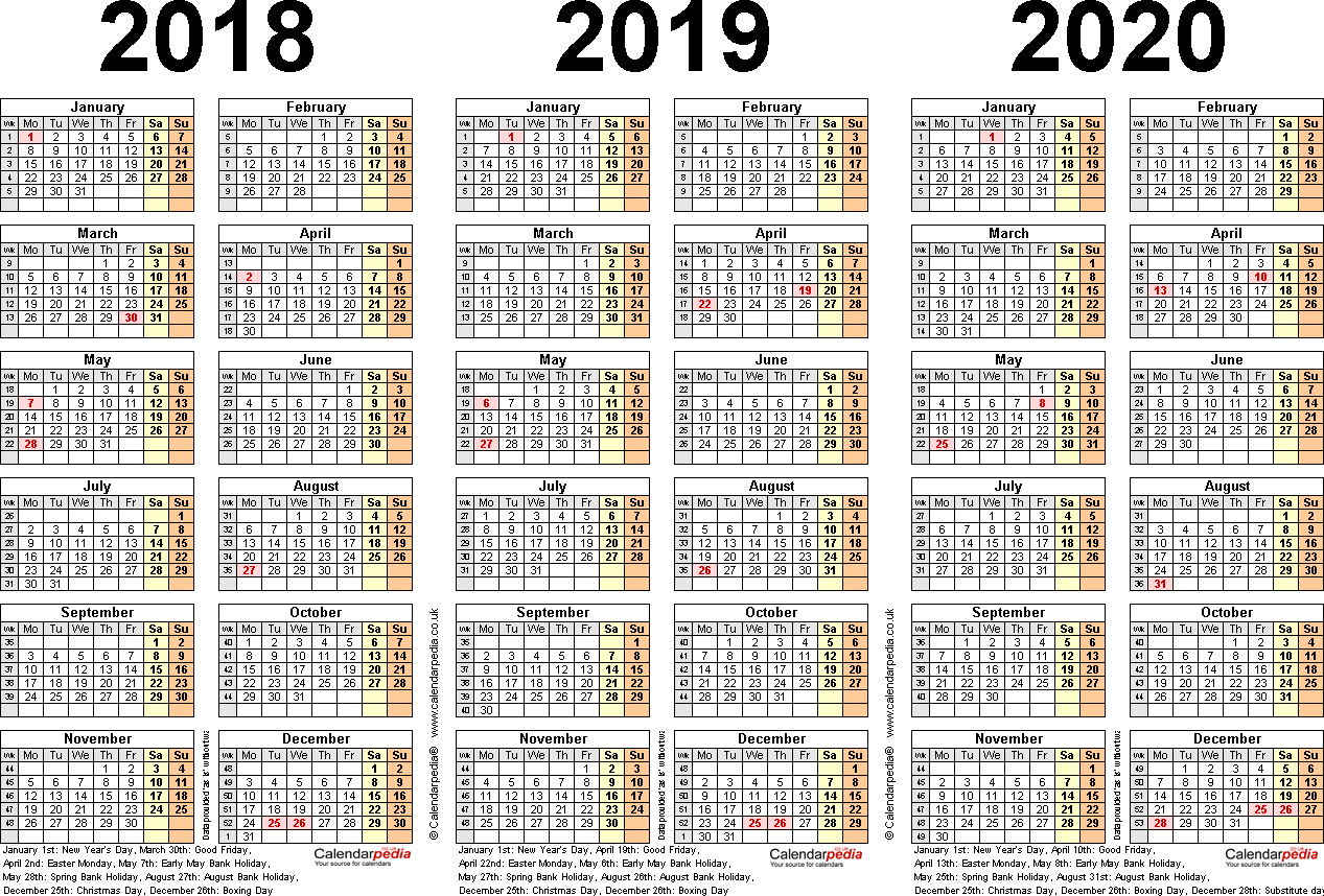 Template 2: PDF template for three year calendar 2018-2020 (landscape orientation, 1 page, A4)