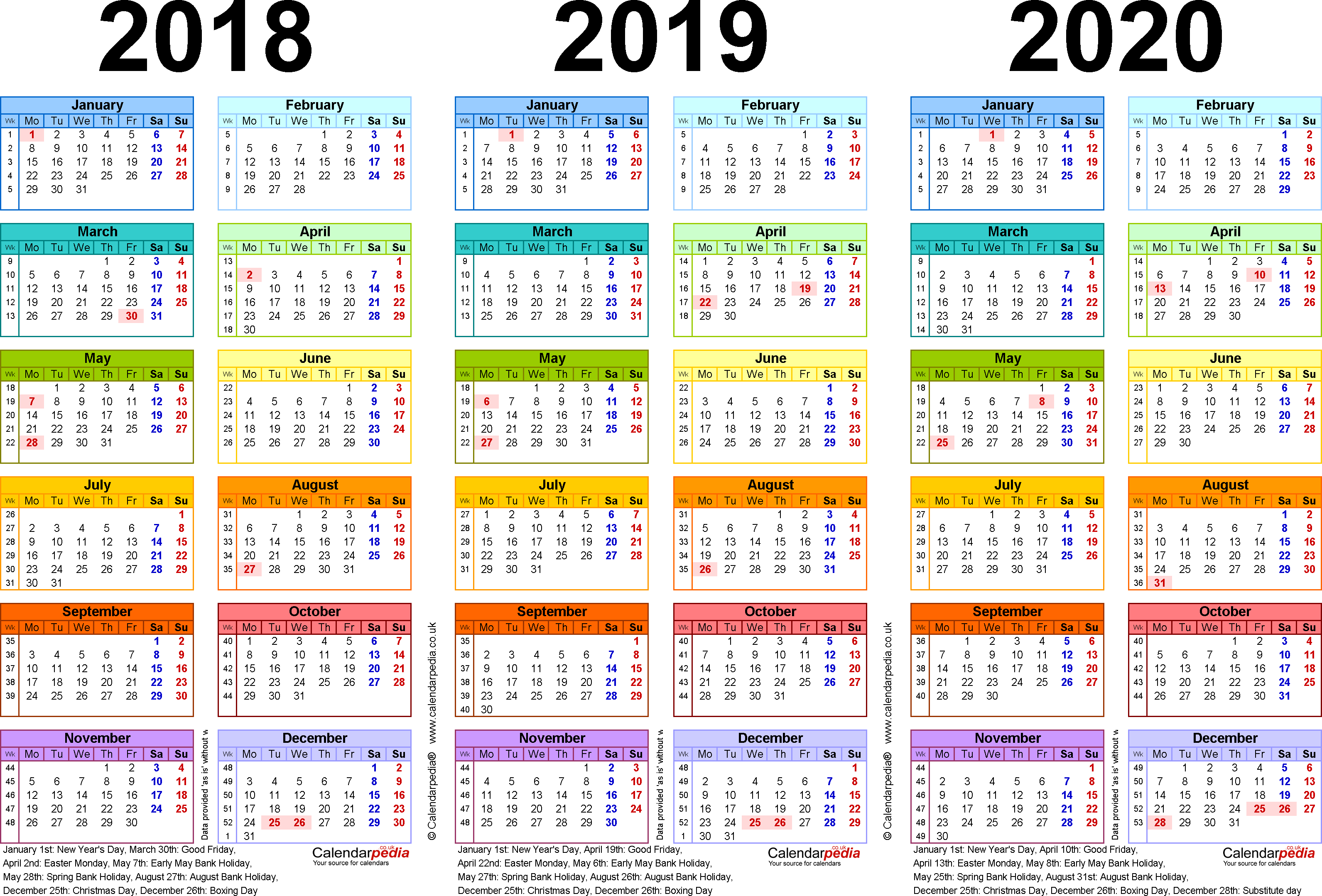 Template 1: Excel template for three year calendar 2018-2020 in colour (landscape orientation, 1 page, A4)