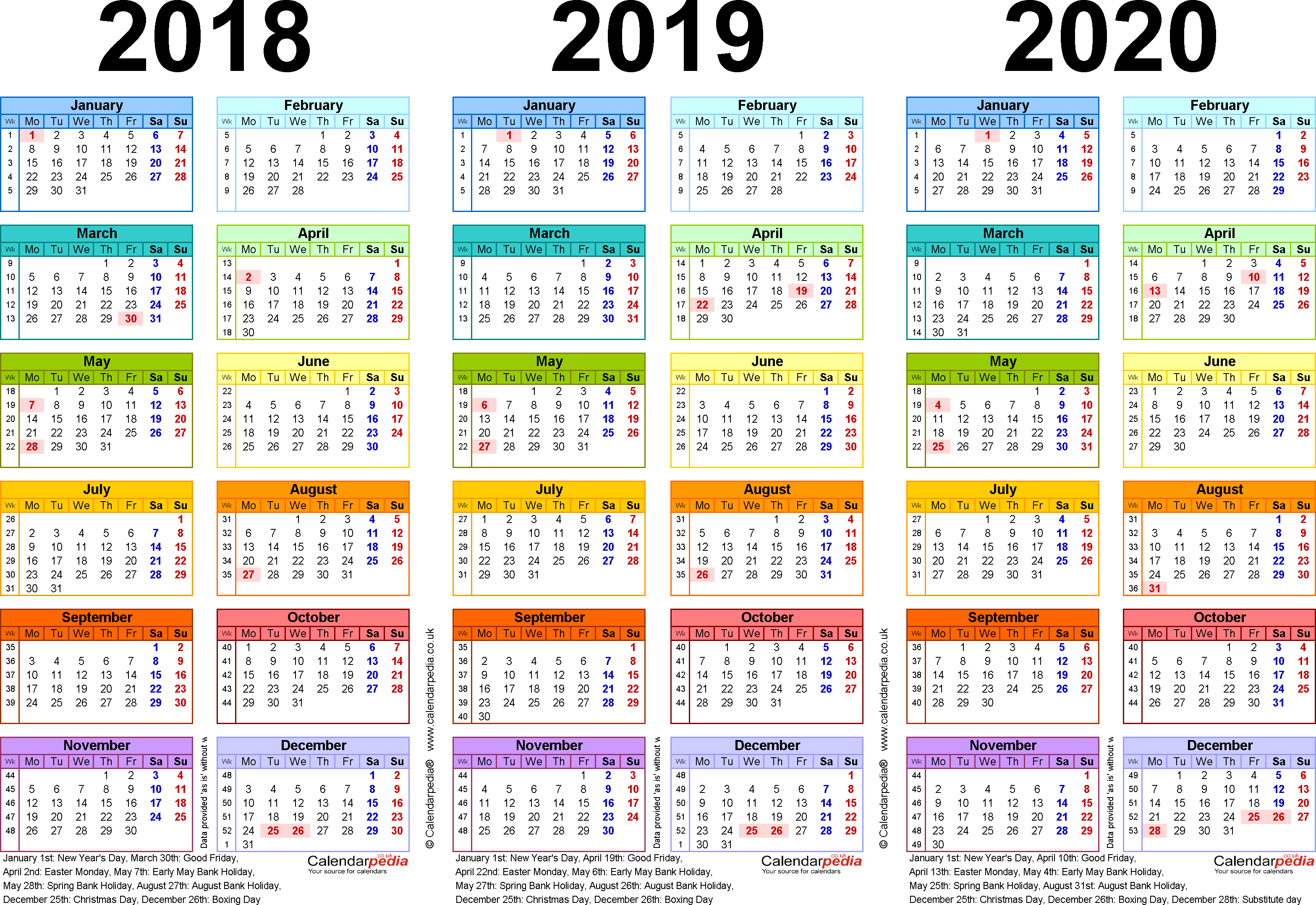 Template 1: Excel template for three year calendar 2018/2019/2020 in colour (landscape orientation, 1 page, A4)