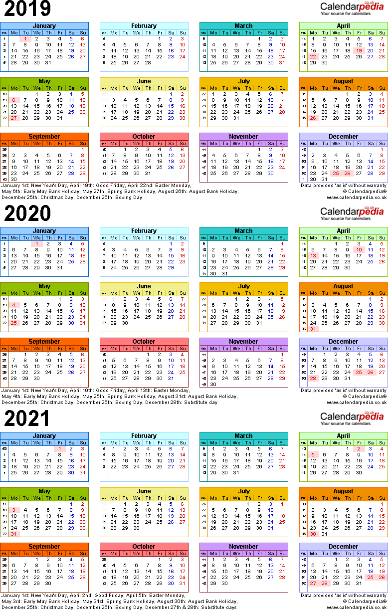 Template 3: PDF template for three year calendar 2019-2021 in colour (portrait orientation, 1 page, A4)