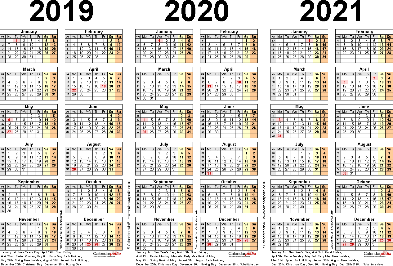 Template 2: PDF template for three year calendar 2019-2021 (landscape orientation, 1 page, A4)
