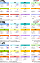 Template 3: Excel template for three year calendar 2019-2021 in colour (portrait orientation, 1 page, A4)