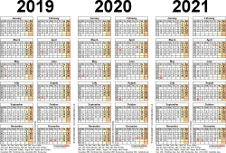 Download Template 2: Excel template for three year calendar 2019-2021 (landscape orientation, 1 page, A4)