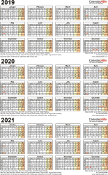 Template 4: Excel template for three year calendar 2019-2021 (portrait orientation, 1 page, A4)