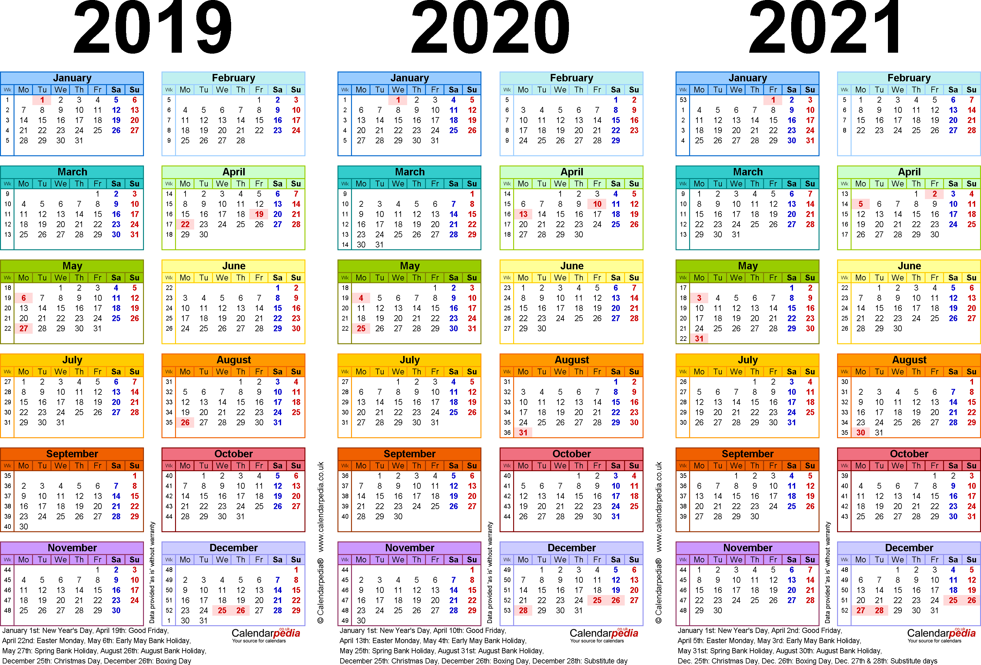 Three year calendars for 2019, 2020 & 2021 (UK) for PDF