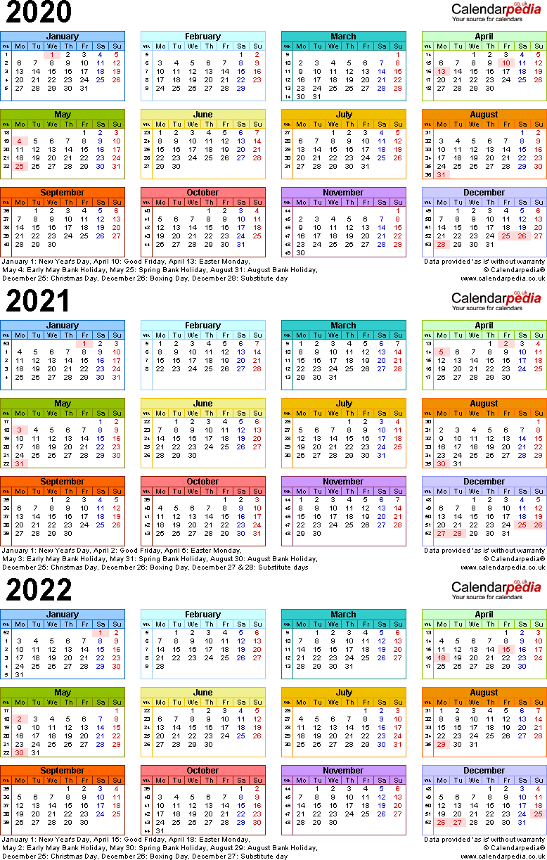 Template 3: Excel template for three year calendar 2020-2022 in colour (portrait orientation, 1 page, A4)