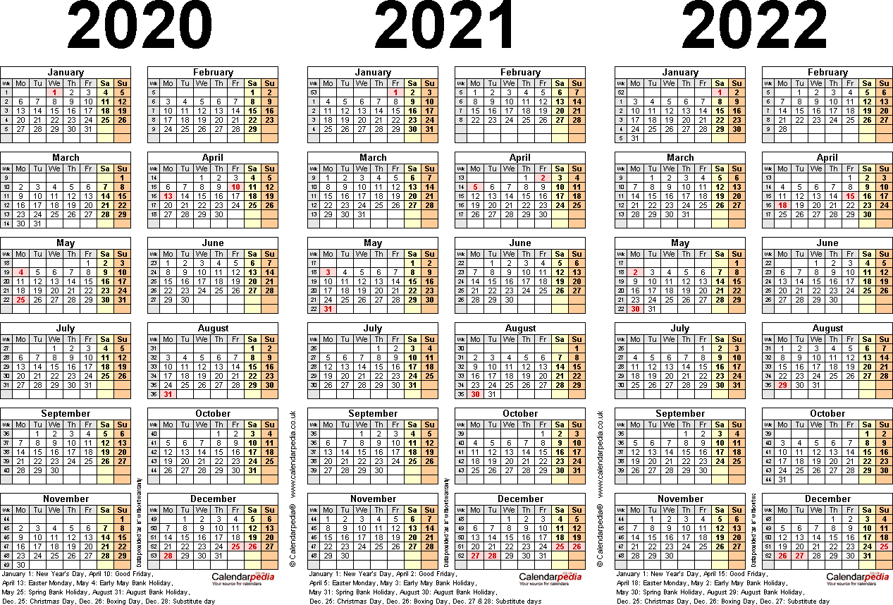 Template 2: Excel template for three year calendar 2020-2022 (landscape orientation, 1 page, A4)