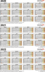 Template 4: Word template for three year calendar 2020-2022 (portrait orientation, 1 page, A4)