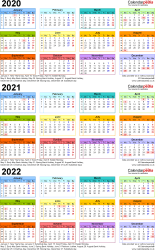 Download Template 3: PDF template for three year calendar 2020-2022 in colour (portrait orientation, 1 page, A4)