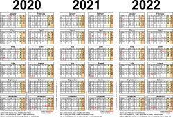 Download Template 2: PDF template for three year calendar 2020-2022 (landscape orientation, 1 page, A4)
