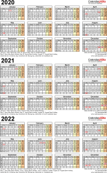 Template 4: Excel template for three year calendar 2020-2022 (portrait orientation, 1 page, A4)