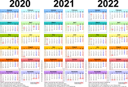 Download Template 1: PDF template for three year calendar 2020-2022 in colour (landscape orientation, 1 page, A4)
