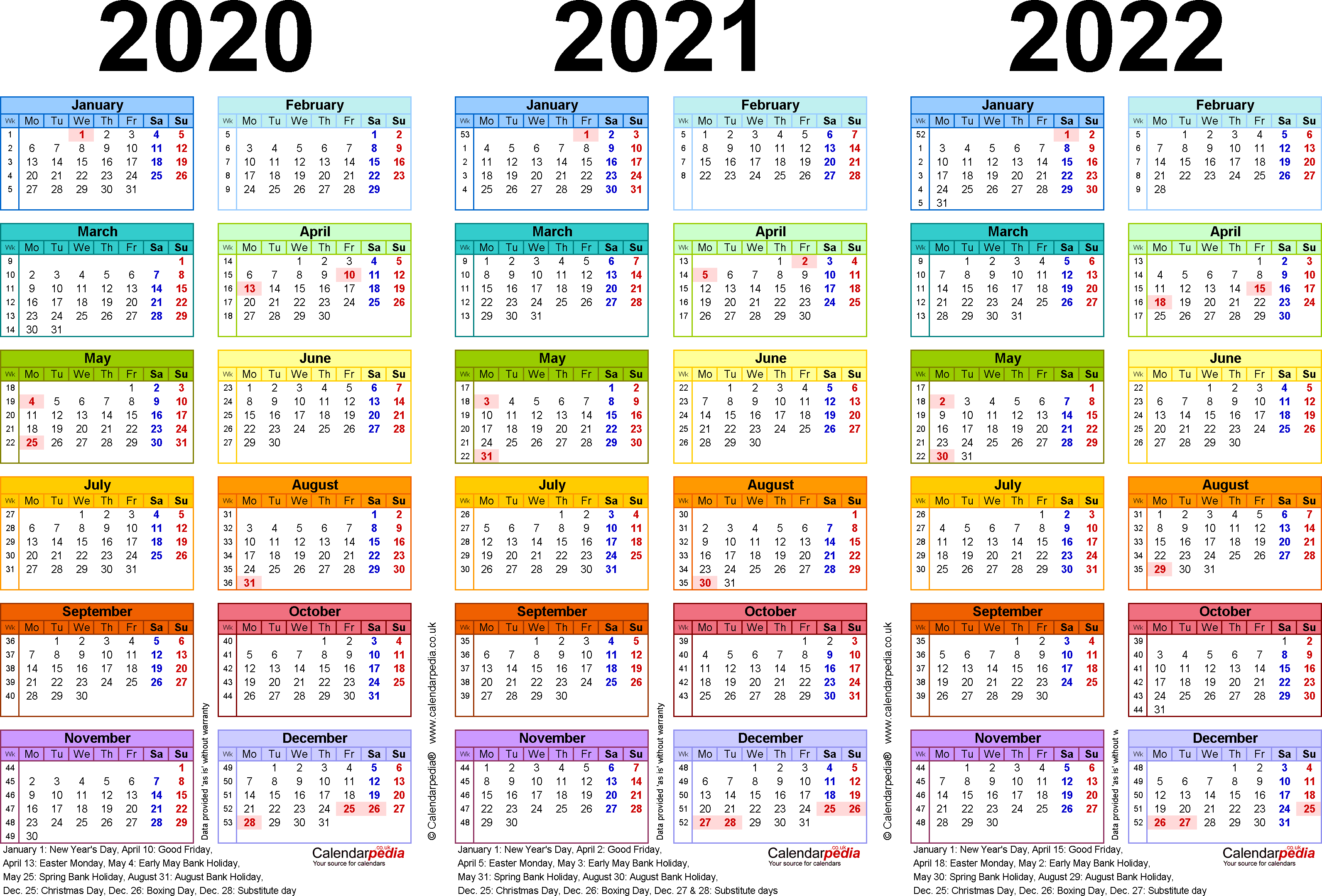 Template 1: Excel template for three year calendar 2020-2022 in colour (landscape orientation, 1 page, A4)