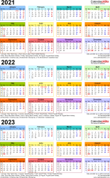 Template 3: Excel template for three year calendar 2021-2023 in colour (portrait orientation, 1 page, A4)