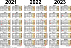 Template 2: Excel template for three year calendar 2021-2023 (landscape orientation, 1 page, A4)
