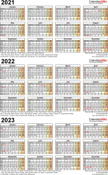 Template 4: Excel template for three year calendar 2021-2023 (portrait orientation, 1 page, A4)