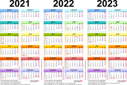 Template 1: Excel template for three year calendar 2021-2023 in colour (landscape orientation, 1 page, A4)