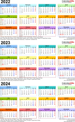Download Template 3: Word template for three year calendar 2022-2024 in colour (portrait orientation, 1 page, A4)