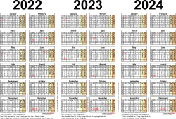 Download Template 2: PDF template for three year calendar 2022-2024 (landscape orientation, 1 page, A4)