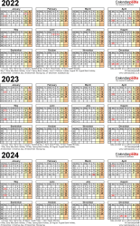Download Template 4: PDF template for three year calendar 2022-2024 (portrait orientation, 1 page, A4)