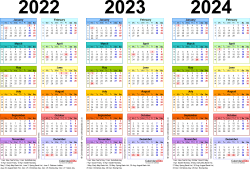 Download Template 1: PDF template for three year calendar 2022-2024 in colour (landscape orientation, 1 page, A4)