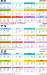 Download Template 3: PDF template for three year calendar 2023-2025 in colour (portrait orientation, 1 page, A4)