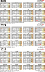 Download Template 4: PDF template for three year calendar 2023-2025 (portrait orientation, 1 page, A4)