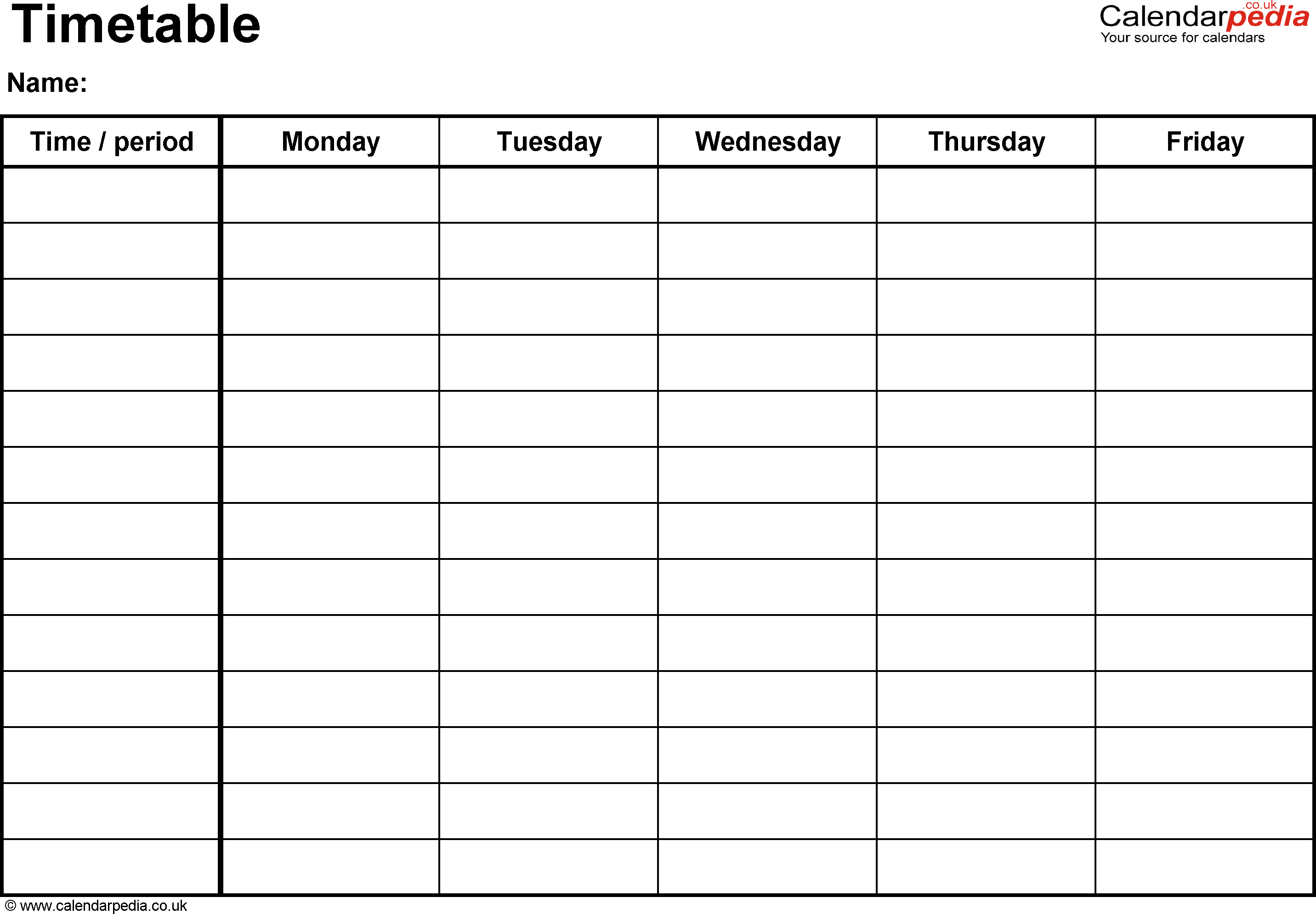 Time Table Week Template | Calendar Template 2016