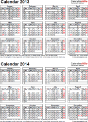 Year calendars for 2014 free printable pdf templates