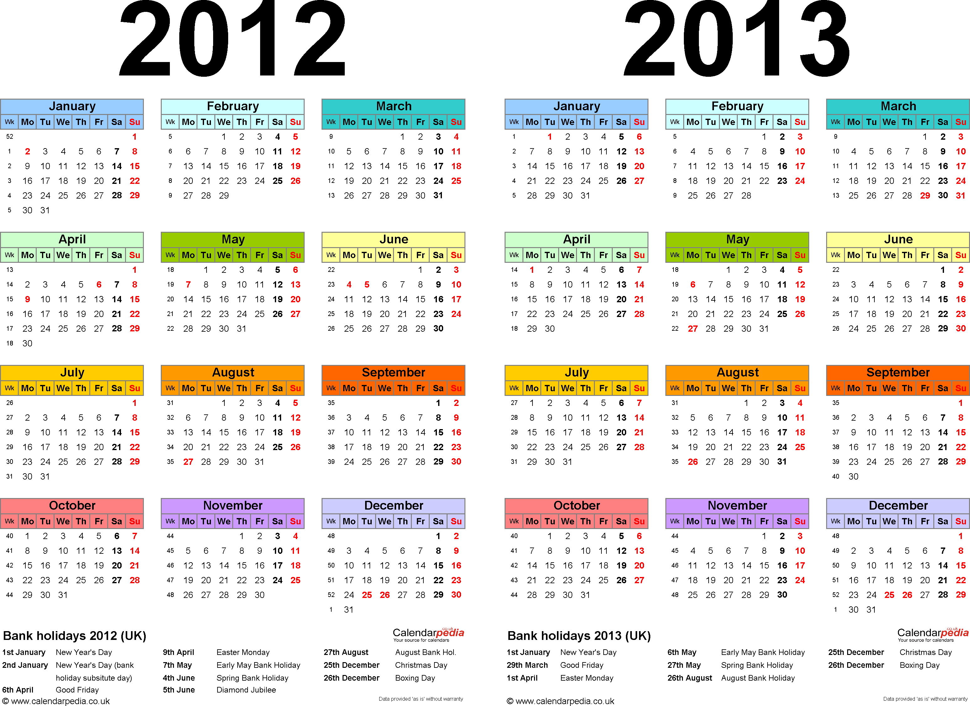 Download Template 1: Word template for two year calendar 2012/2013 in colour (landscape orientation, 1 page, A4)