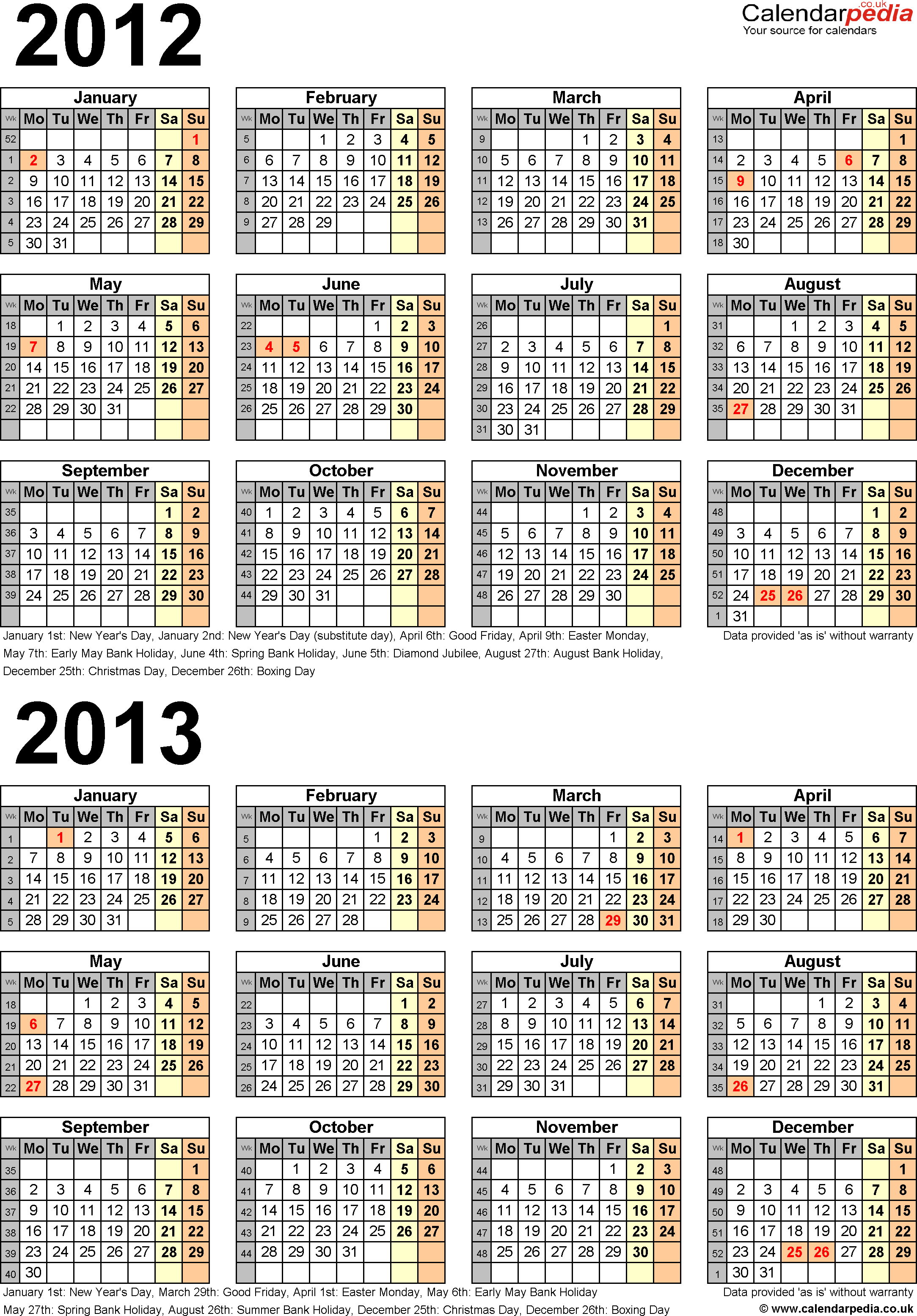 Download Template 4: Word template for two year calendar 2012/2013 (portrait orientation, 1 page, A4)