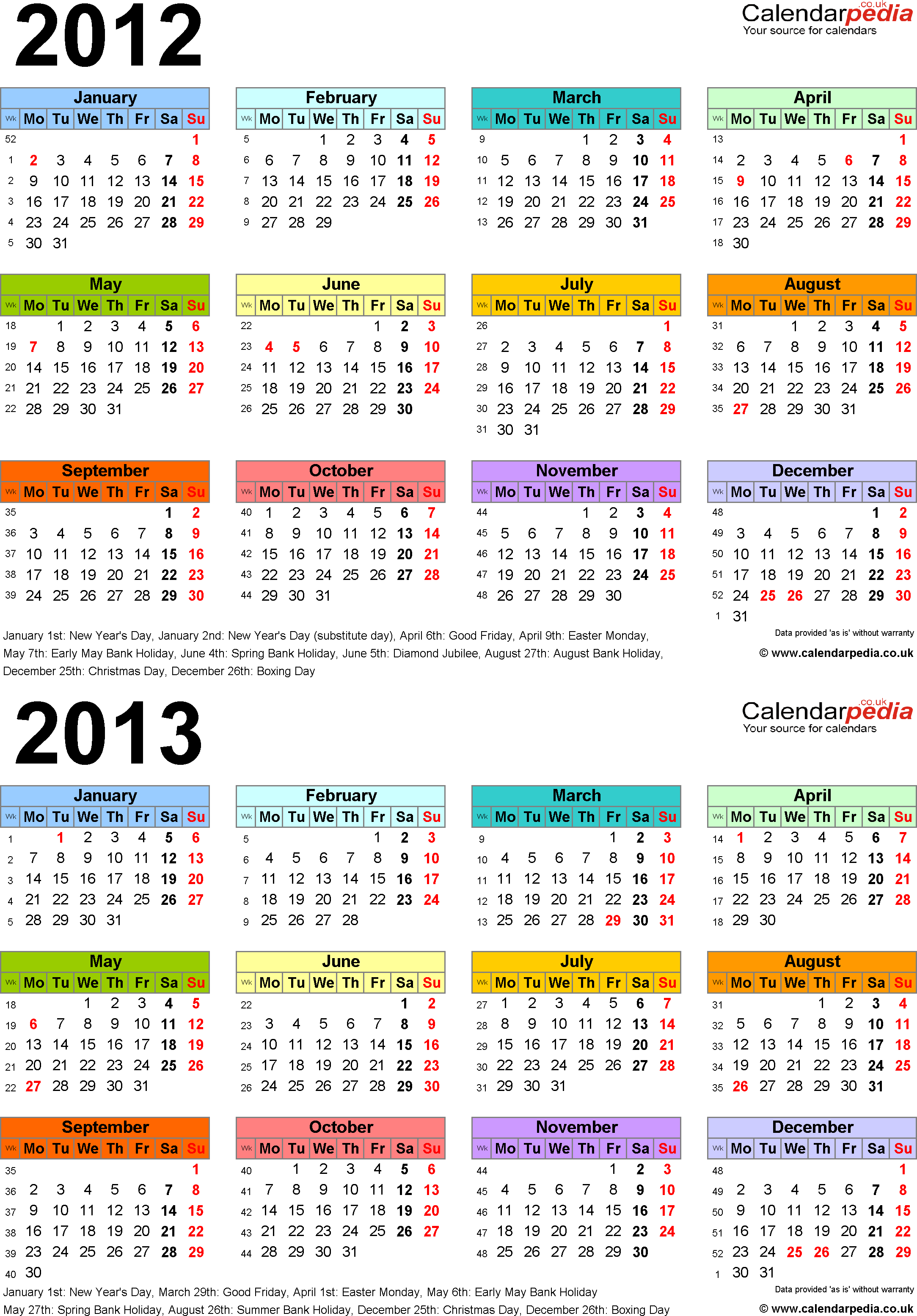 Download Template 3: Word template for two year calendar 2012/2013 in colour (portrait orientation, 1 page, A4)
