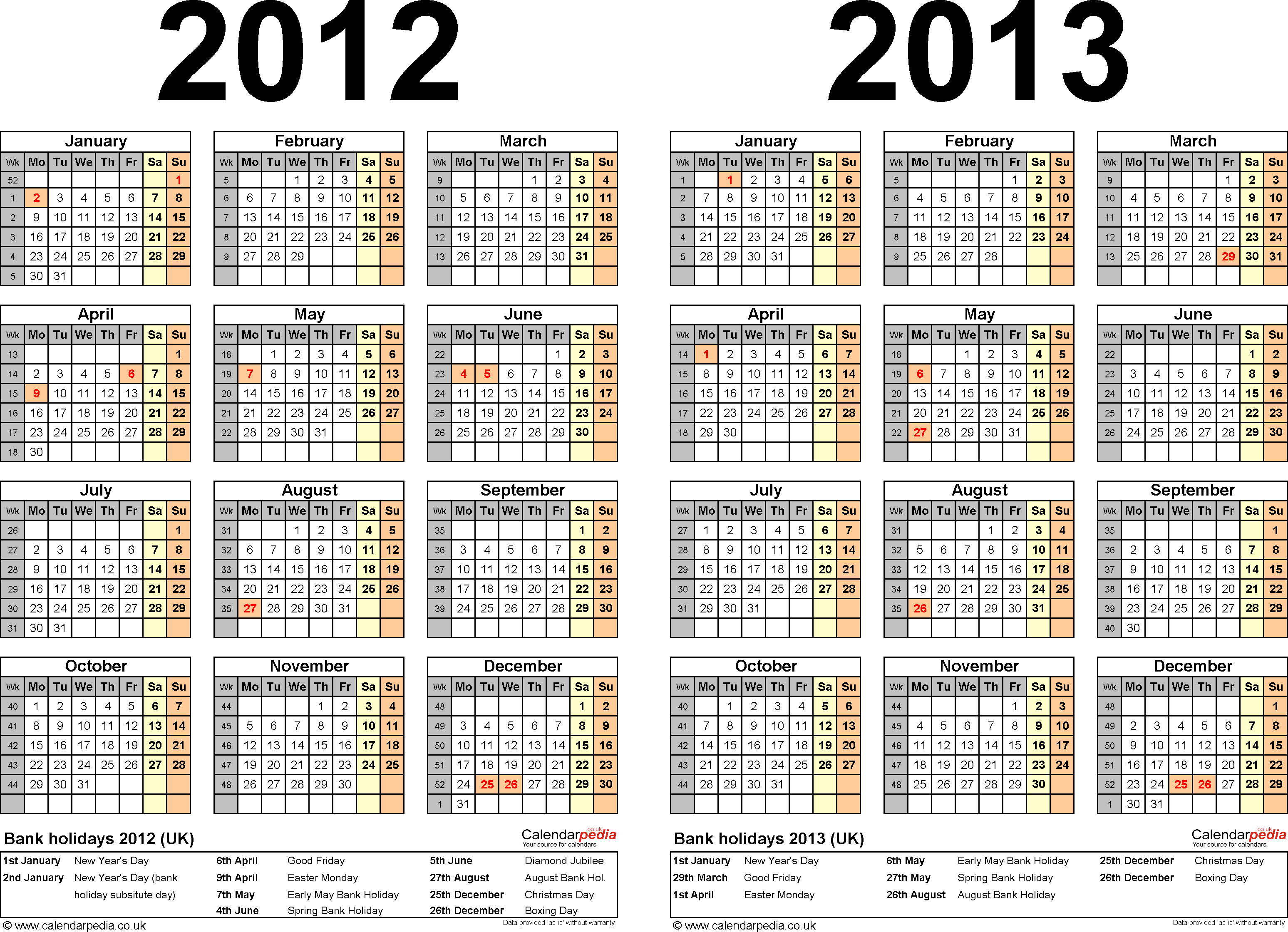 Download Template 2: Word template for two year calendar 2012/2013 (landscape orientation, 1 page, A4)