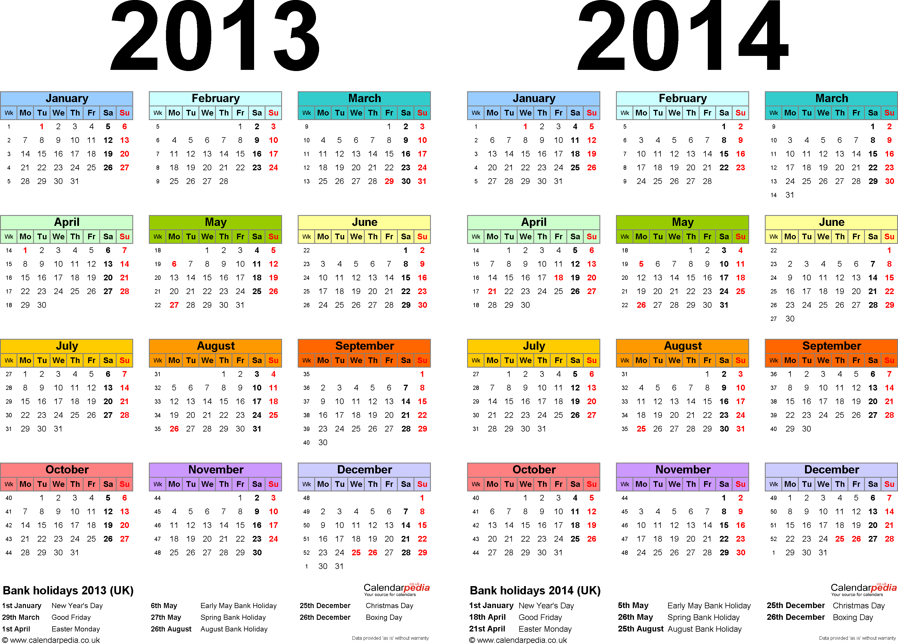 Template 1: Word template for two year calendar 2013/2014 in colour (landscape orientation, 1 page, A4)