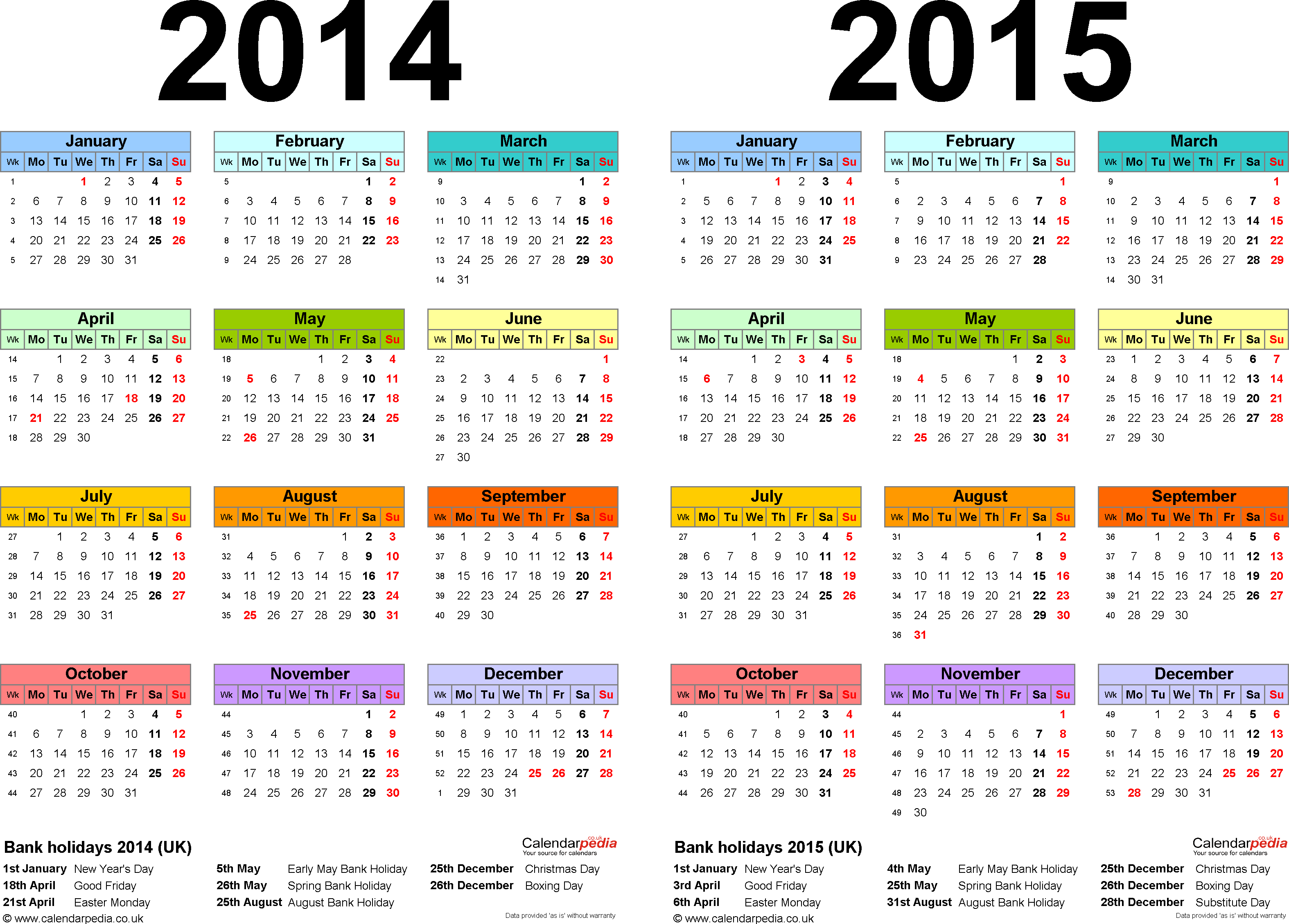 Template 1: Excel template for two year calendar 2014/2015 in colour (landscape orientation, 1 page, A4)