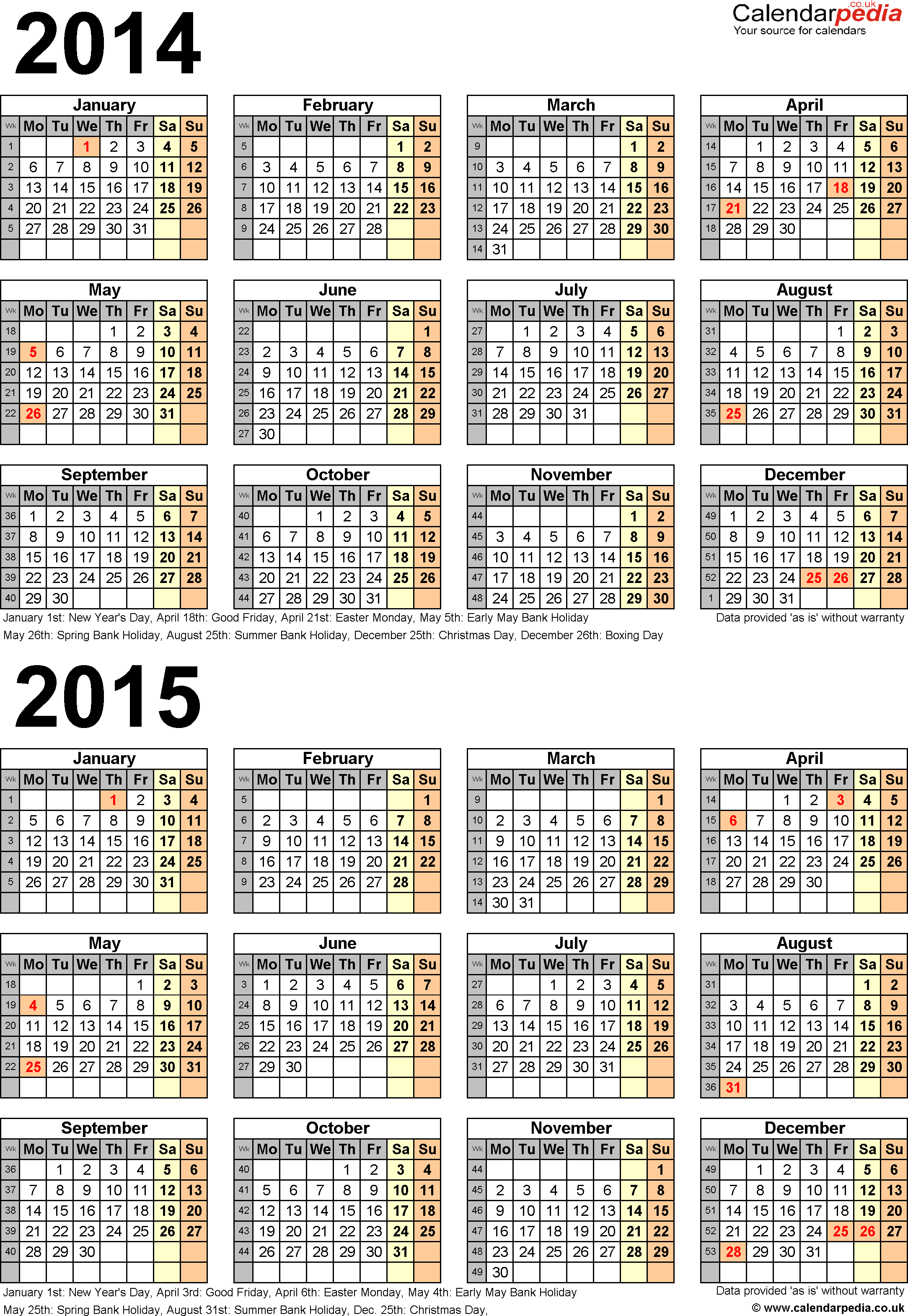 Template 4: Excel template for two year calendar 2014/2015 (portrait orientation, 1 page, A4)