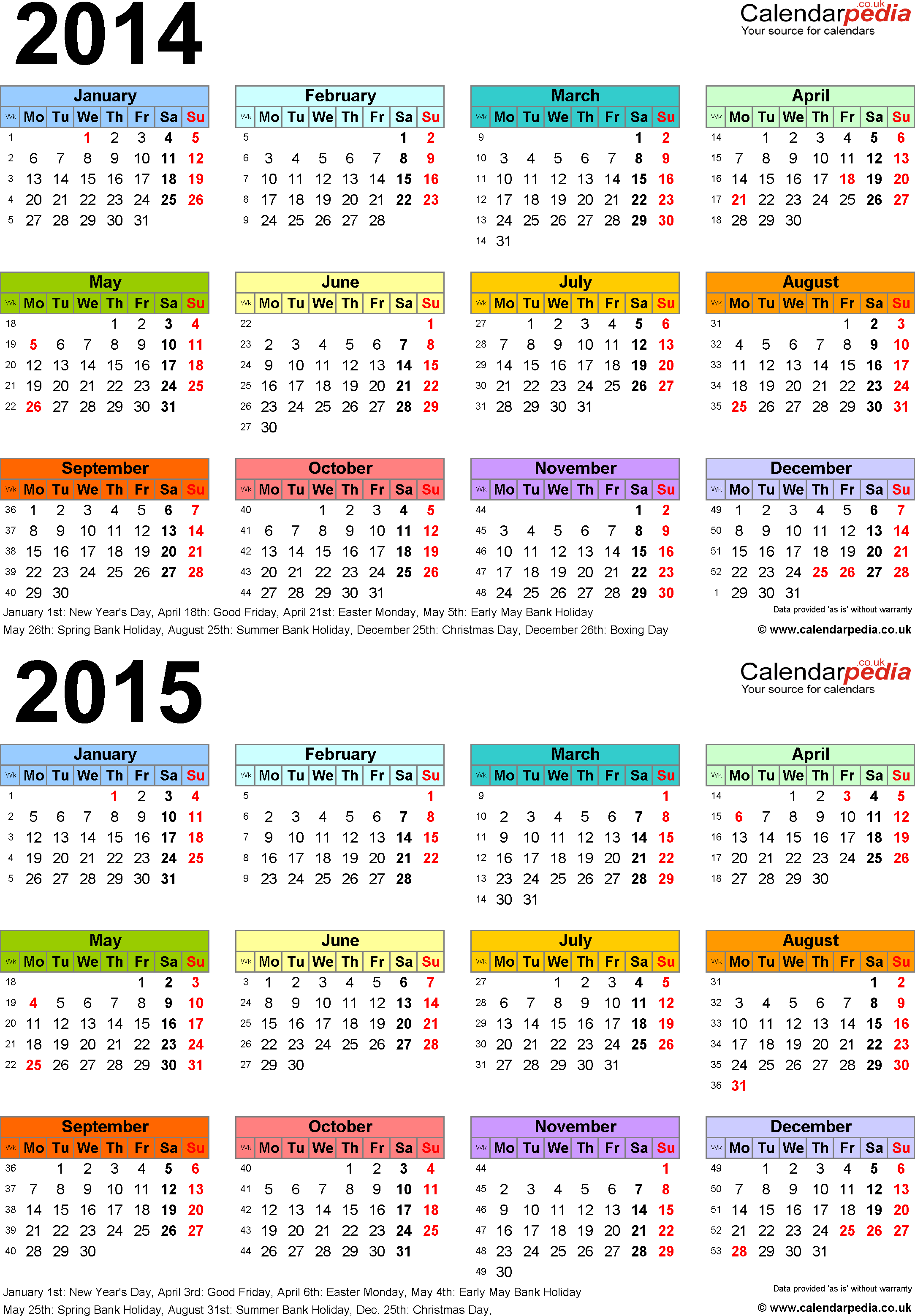 Download Template 3: Excel template for two year calendar 2014/2015 multi-coloured (portrait orientation, 1 page, A4)