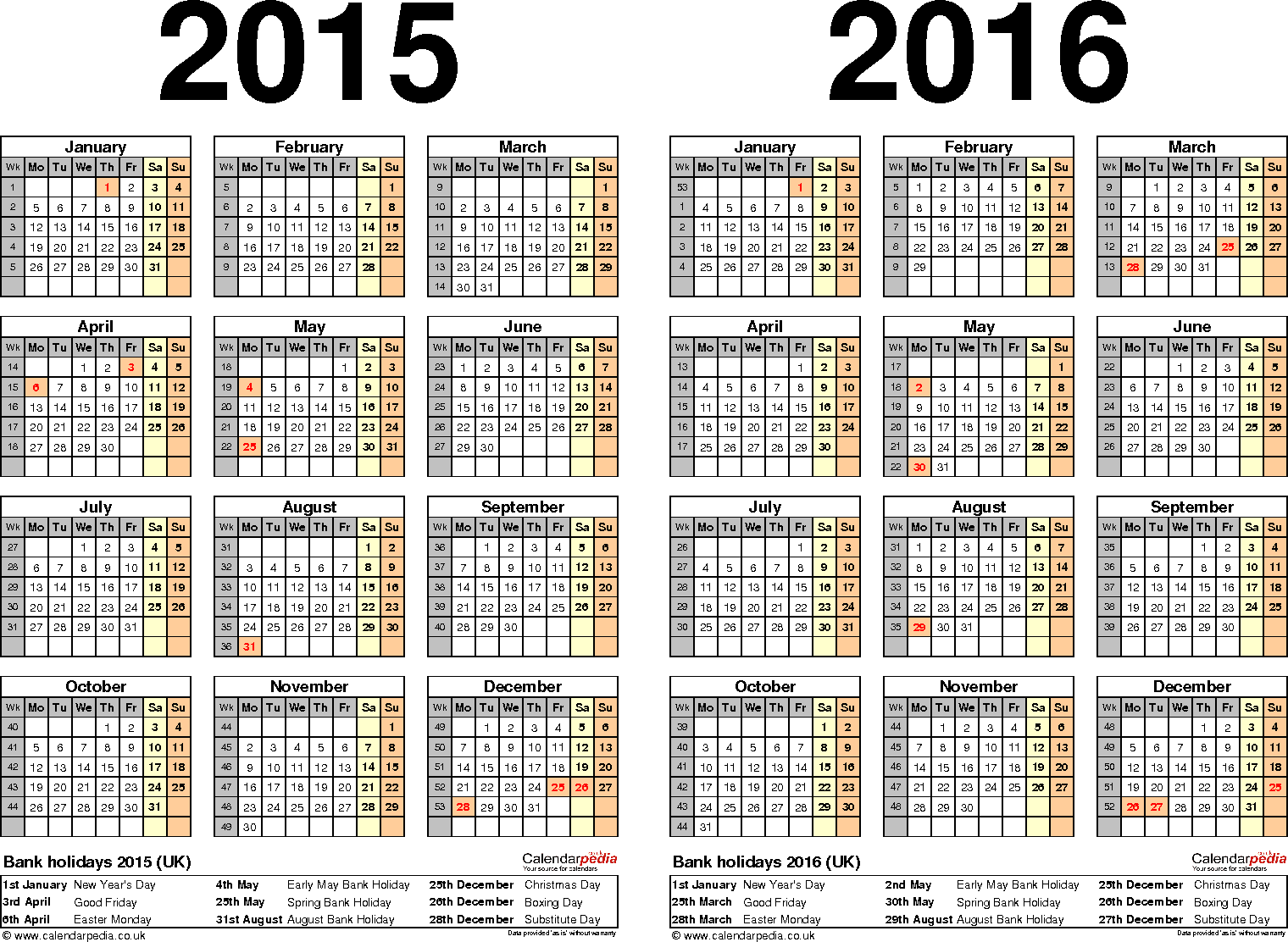 Template 2: Word template for two year calendar 2015/2016 (landscape orientation, 1 page, A4)