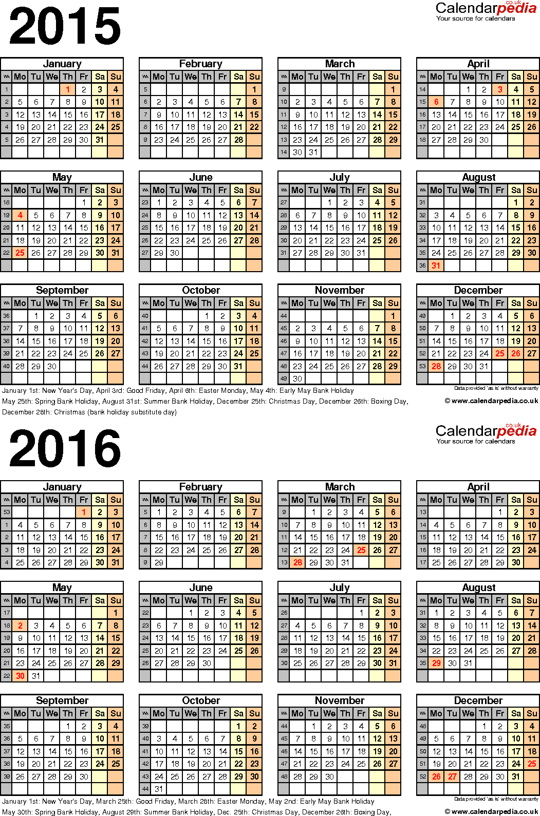 Uiuc Calendar.Two Year Calendars For 2015 2016 Uk For Pdf