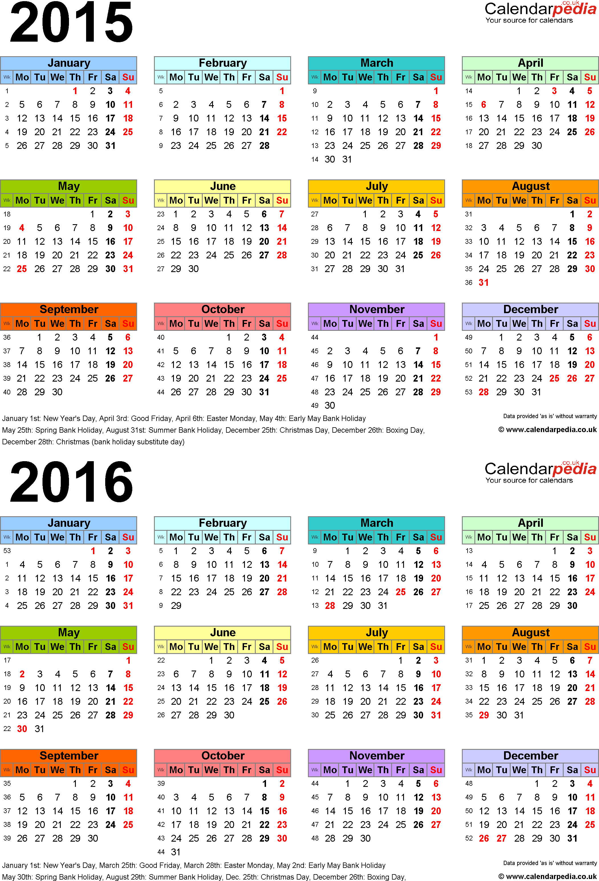 two year calendars for 2015 2016 uk for word