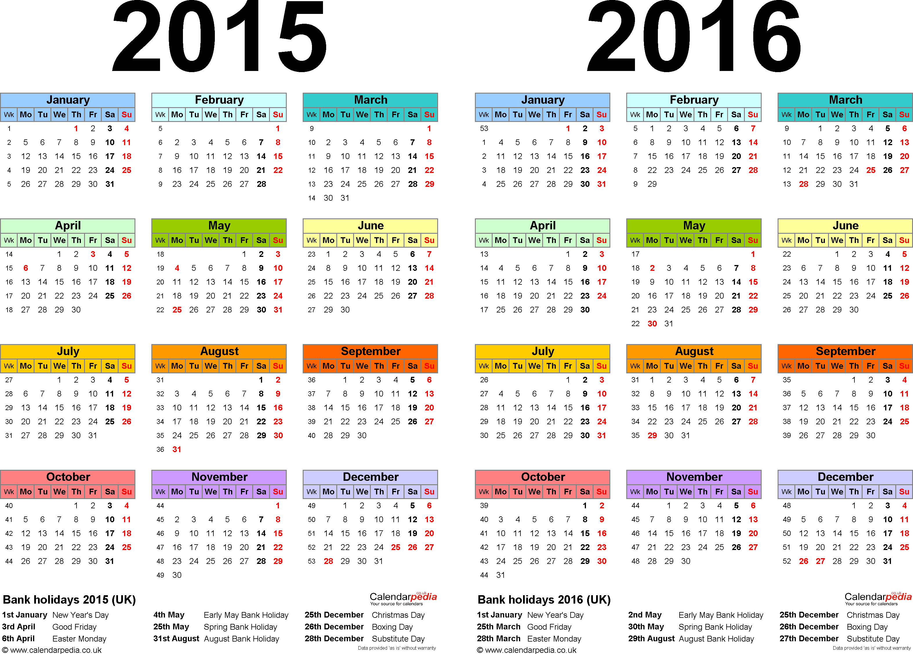 Template 1: Word template for two year calendar 2015/2016 in colour (landscape orientation, 1 page, A4)