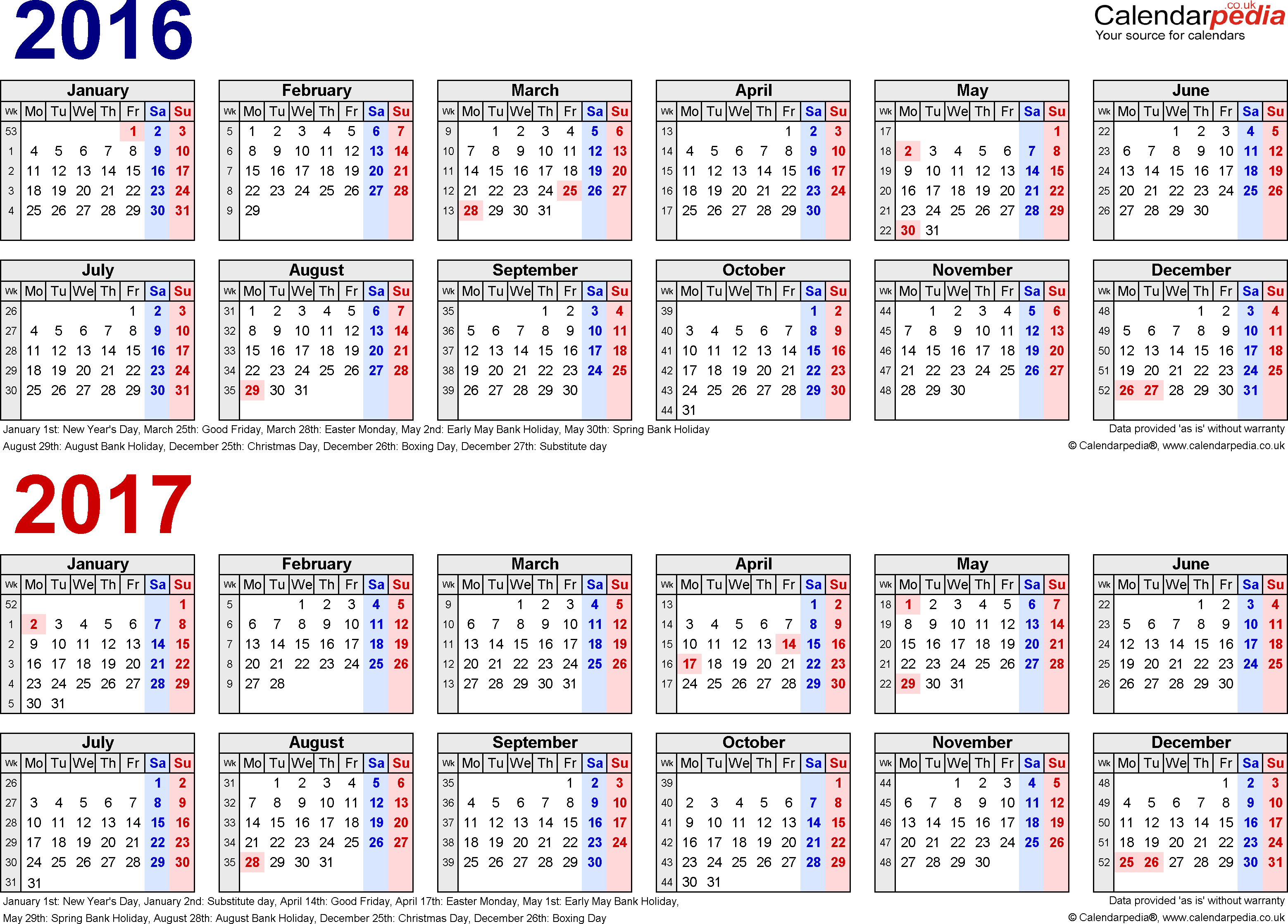 Template 1: Excel template for two year calendar 2016/2017 in blue/red (landscape orientation, 1 page, A4)