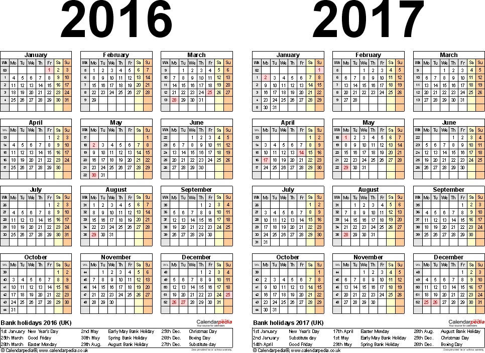 Template 2: Excel template for two year calendar 2016/2017 (landscape orientation, 1 page, A4)